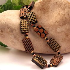 Textured Tile Beads Polymer Clay Necklace Gold Copper Black JE118