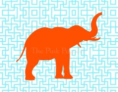 Tangerine Orange Elephant Silhouette on Turquoise Lattice Facing Right Giclee 11x14. $35.00, via Etsy.