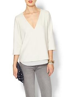 Cooper & Ella Susan Double V Blouse   Piperlime. Basic shirt that offers a great canvas to play with. Dress up or down.
