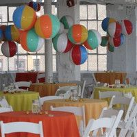 Summer party decorations - beach balls!