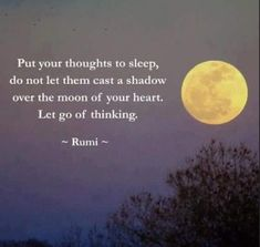 Put your thoughts to sleep.. -Rumi