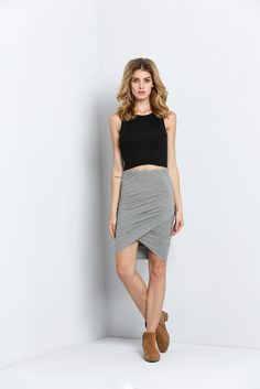 Grey Slim Bodycon Skirt