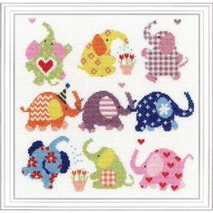 Slightly Dotty Elephants Cute Elephant cross stitch kit design by Emily Johnston for Bothy Threads. Contents: 14 count white aida, cotton threads, chart, needle and full instructions. Mermaid Cross Stitch, Cute Cross Stitch, Counted Cross Stitch Kits, Modern Cross Stitch, Cross Stitch Designs, Cross Stitch Patterns, Loom Patterns, Elephant Cross Stitch, Cross Stitch Animals