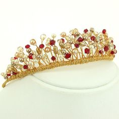 Image detail for -handmade bespoke jewellery hair accessories red and gold tiara