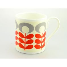 Orla Kiely OK71 Flower Oval Stem Tomato MugBrightly coloured design Ideal gift for Him, Her or Teacher/end of term and thank you. Perfect for Birthday Gift. Can be personalised. £9.50 per mug £4 track and trace postage orders over £40 free delivery