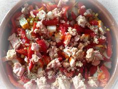 Ensalada templada de coliflor, atún y surimi