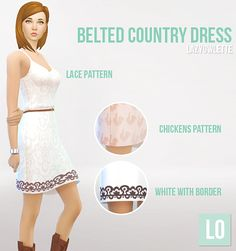 Maxis Match CC for The Sims 4 • lazyowlette: My first cc! A country style dress...