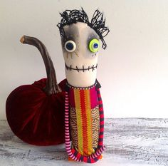 Original handmade doll monster doll with button eyes by Snotnormal