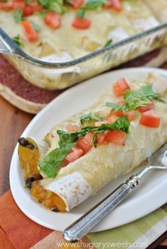 Butternut Squash Black Bean Enchiladas...delicious vegetarian dinner idea full of flavor, even the meat eaters will love it