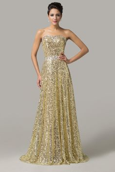 Golden Strapless Sequined Maxi Evening Dress from Graciella's. Saved to Evening Gowns.