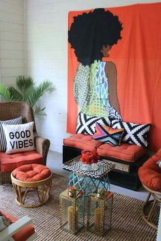 retro home decor Creative Modern Decor With Afrocentric African Style Ideas African Living Rooms, African Bedroom, African Themed Living Room, African Interior Design, Decor Interior Design, Interior Decorating, Diy Design, Design Ideas, Retro Home Decor