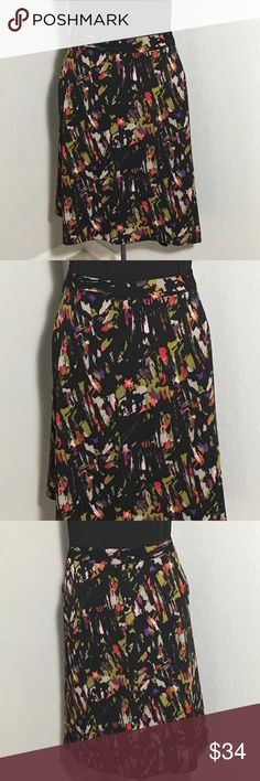 """Lane Bryant Black Floral Abstract A Line Shirt 26 Women's Lane Bryant a-line black floral skirt with back zipper. Size 26. Measurements 24"""" waist laying flat, 25"""" waist to hem. Excellent condition no flaws Lane Bryant Skirts"""