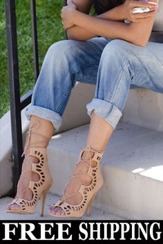 e967df484acf Fashion Lace Up Peep Toe Stiletto Heel Sandal