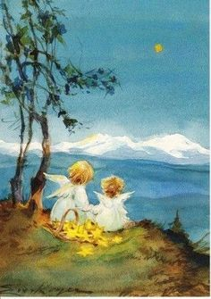 """""""Goodnight stars, goodnight air, goodnight noises everywhere. Vintage Greeting Cards, Vintage Christmas Cards, Christmas Angels, Christmas Art, Angel Drawing, Angel Pictures, Good Night Moon, Angel Cards, Guardian Angels"""