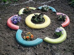 "Garden Ideas With Tires the ""brick"" tire 