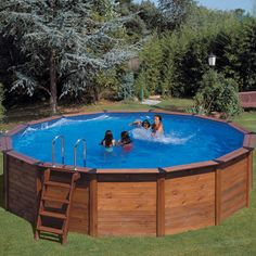 "Piscine habillage bois en kit ronde ""Natur Pool "" 4.90 x 120 m"