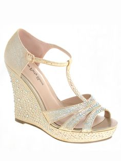 Beaded Strappy Prom Wedges Your Party Shoes Madison 704 509819020250