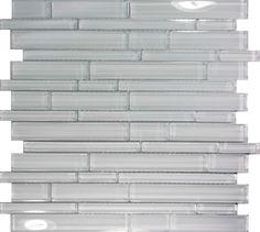 SAMPLE- White Glass Linear Mosaic Tile Kitchen Wall Floor Sink Pool Backsplash #Unbranded