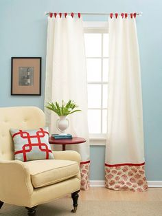 Custom curtains made by cutting a full sheet in half, hemming and dressing it up with some pretty fabric.  | fabuloushomeblog.comfabuloushomeblog.com