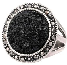 [Visit to Buy] Black Broken Stone Accessories Rings For Women Bohemia Antique Silver Plated Jewelry Live To Ride Engagement Ring #Advertisement