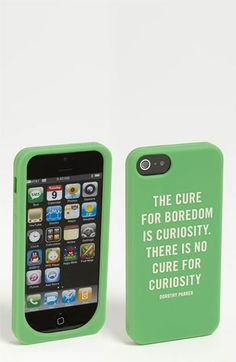 """The cure for boredom is curiosity.  There is no cure for curiosity."" - Dorothy Parker  Kate Spade Iphone 5 case available at #Nordstrom"