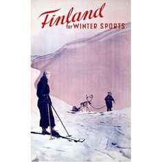 Finland For Winter Sports Vintage Skiing Travel Poster.  Finland For Winter Sports Vintage Skiing Travel Poster.  Old Finnish poster to promote travel to Finland for Winter Sports, especially skiing.  Poster displays a person on skis and another person leading a reindeer with a sled.  18x24 inch, Giclee on Matte Paper, Order at 98trees.com