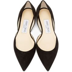 Jimmy Choo Black Suede Darylin DOrsay Flats (€390) ❤ liked on Polyvore featuring shoes, flats, heels, black suede flats, jimmy choo shoes, flat shoes, pointed toe flats and suede shoes