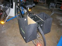 How to make Grocery Panniers for $4  I think I'll try it for me first, then keep 'em coming for the whole fam!