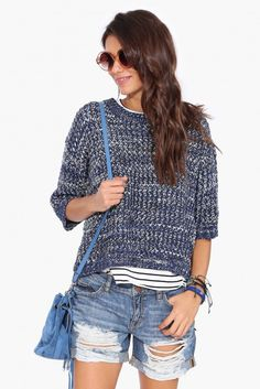 Sebastian Pull Over Sweater in Navy | Necessary Clothing