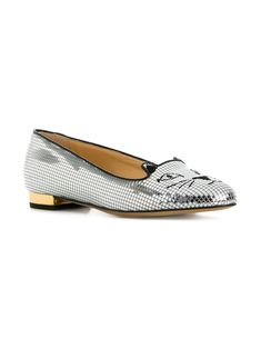 Charlotte Olympia Disco Kitty slippers Cat Shoes, Metallic Flats, The Vamps, Charlotte Olympia, Calf Leather, Calves, Slippers, Loafers, Kitty