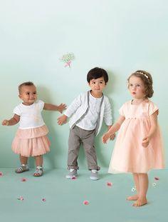 Vestido de ceremonia en satén y muselina bebé BLANCO CLARO LISO CON MOTIVOS+ROSA CLARO ESTAMPADO