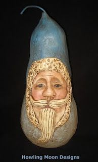 Blue Santa..Paper Mache and Paper clay..This was a class I taught to recreate the look of a Gourd Santa