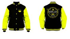 vermillion gym varsity jacket black and yellow by Player1clothing