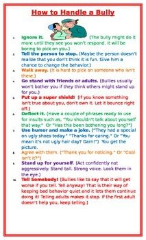 Ten tips for how to handle bullying with practical examples of witty responses to teasing and when to get help from an adult. Often partnered with the How to Handle a Bully Flow Chart.