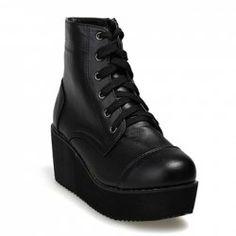 Stylish Laconic Leather Women's Short Boots With Lace-Up and Platform Heel Design (BLACK,35)   Sammydress.com ($17.00) - Svpply