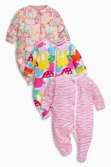 Next Pink All Over Print Sleepsuits Three Pack (0mths-2yrs) £16.50