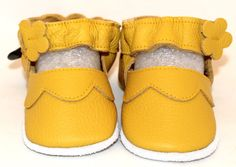 Hand Made, Soft sole, leather, BABY Shoes, Yellow, Mary Janes, soft leather, baby shoes, baby slippers, slipper, toddler, booties by minitoes on Etsy
