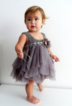 Light Brown Baby Tulle Dress with Stretch Crochet by AylinkaShop
