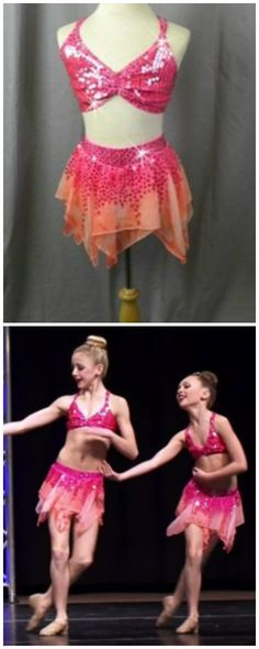 Chloe and Maddie wear Crystal Couture's Hot Pink and Orange 2 Piece Top & Chiffon Skirt ($150.00/customizable).