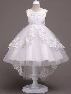 Girls A-Line Sleeveless Pearls Floral Embroidered Communion & Flower Girl Party Dress Tulle Flower Girl, Cheap Flower Girl Dresses, Little Girl Dresses, Cute Dresses, Short Dresses, Première Communion, Communion Dresses, Girls Dresses Online, Dress Online