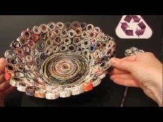 Basket made with magazines.