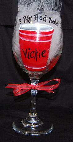 Hand Painted Wine Glass   Red Solo Cup by LadyWithTheCuteGlass, $18.00