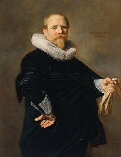 Portrait of a Man Frans Hals 1630 'Portrait of a Man' by Hals is striking for its compositional simplicity and tonal unity - both aspects indicative of the artist's stylistic progression during the 1630s. The figure seems to burst out of the lower edge of the canvas. The sense of a strong physical presence is due to the spiral effect created by the jutting elbow on the viewer's left and the hand holding a pair of gloves that extends from the tautened cloth on the right.