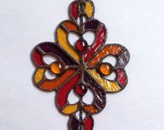 "Stained Glass Pendant ""Hearts"". Handmade. DizArtEx."