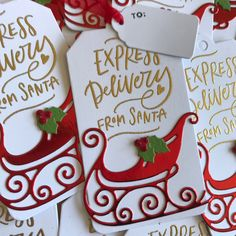 Honey Bee Stamps sentiment & Lawn Fawn gift tag Santa Express, Honey Bee Stamps, Mama Elephant, Christmas Gift Tags, Lawn Fawn, My Favorite Things