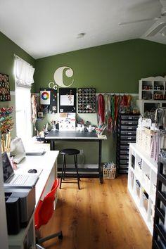 craft room organization. Like the stool...bar height desk