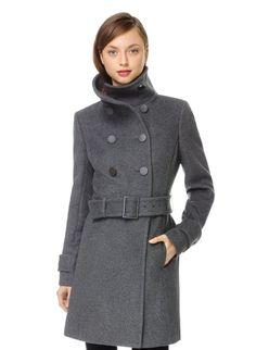 BABATON BROMLEY WOOL COAT - A minimalist military coat in Italian melton wool and cashmere