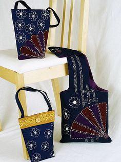 sashiko stitched bag collection