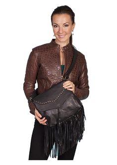 Ladies Soft Leather Fringe Handbag/Purse in Black  $113.53 : The Nevada City Traders