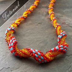 Super Duo Spiral Stitch Necklace Pattern, Bead Weaving Tutorial, Step by Step with Detailed Diagrams.  Ouroboros